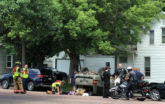 Police are investigating after a car rolled near the intersection of First Street and Summit Avenue on Tuesday, July 2, 2019.