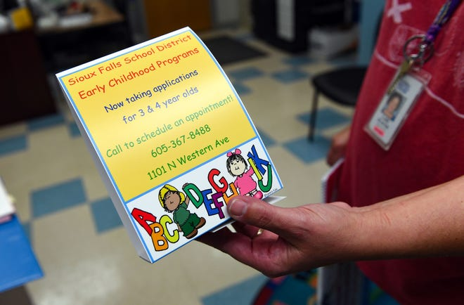 The Sioux Falls School District is looking to fill nearly 1,000 spots for the district's early childhood program next school year, using a variety of promotional literature to market to families who may not have previously considered it.