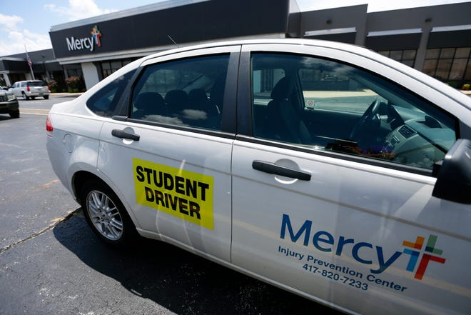 A Mercy driver education car sits in a parking lot at the Mercy Injury Prevention Center on West Battlefield Road on Tuesday, July 2, 2019. Mercy will end its 'in car' driver education program in mid-August.