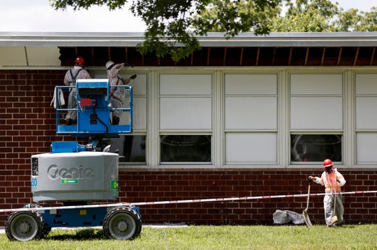 Construction workers prepare Delaware Elementary School for demolition on Tuesday, July 2, 2019.