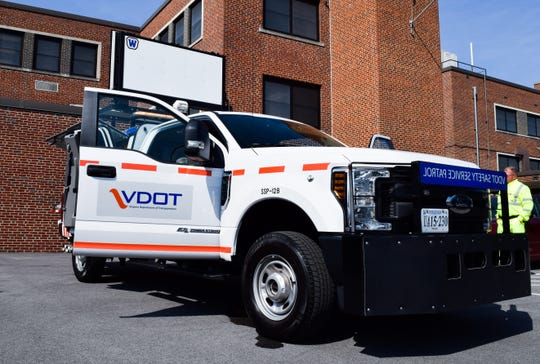 A Safety Service Patrol truck sits Tuesday at the Virginia Department of Transportation's Staunton District office. Seven additional drivers and trucks started with the patrol on Monday through new funding from the I-81 Corridor Improvement Plan.