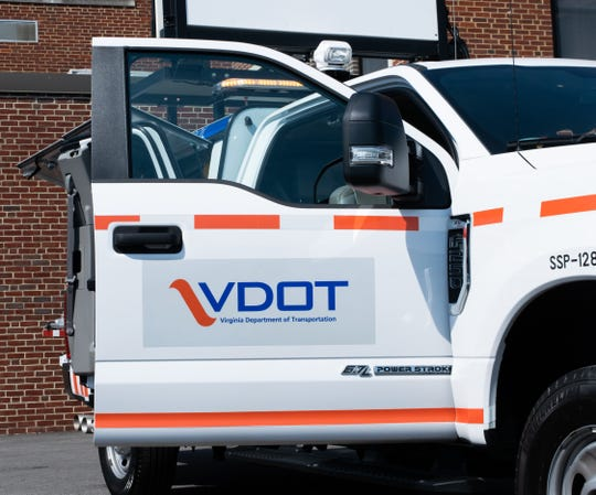 A VDOT Safety Service Patrol truck sits Tuesday at the department's Staunton District office. SSP trucks are white with orange trim and blue lettering.
