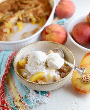 For Southern Peach Cobbler, you add everything to a baking dish, and the batter miraculously turns into a sweet crusty topping.