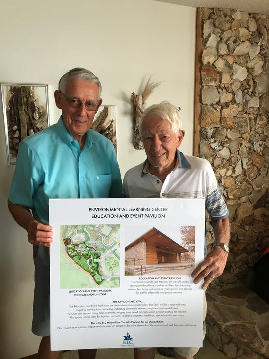 Tim Buhl, left, secretary and master plan committee chairman for the Environmental Learning Center Board of Directors, is with donor Thomas R. Schidel.