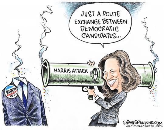 Cartoon: Kamala Harris attacks Joe Biden