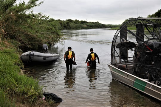U.S. Border Patrol divers search for missing 2-year-old girl in the Rio Grande near Del Rio, Texas, on July 2, 2019.