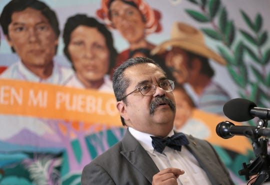 Dr. Jose Manuel de la Rosa speaks during a press conference Tuesday at Annunciation House's Casa Vides in downtown El Paso after having treated migrant children in El Paso shelters. The doctors are hoping to gain access to children's shelters to offer medical care they say children aren't receiving.