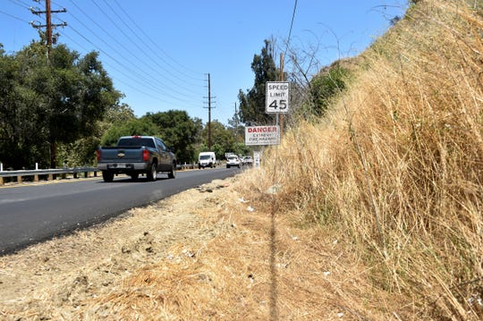 Dried brush grows along Highway 33 near Oak View on Monday.