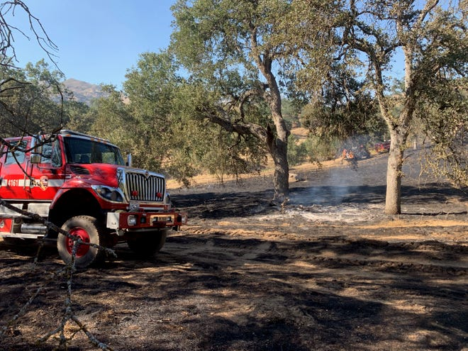 Firefighters battled a 20-acre blaze behind St. Anthony Retreat in Three Rivers on July 1, 2019.