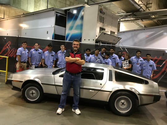 Sal Cappiello and Rockland BOCES Automotive Technology Academy students at Mohegan Sun, when the DeLorean they restored was auctioned off.
