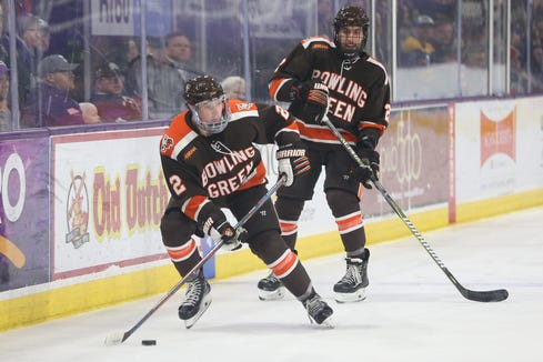 Will Cullen (left) spent three years playing prep and junior hockey after he graduated from Pelham High School in 2014. The defenseman signed a national letter of intent to play ice hockey at Bowling Green State University at the age of 21 and made his Falcons debut last October.