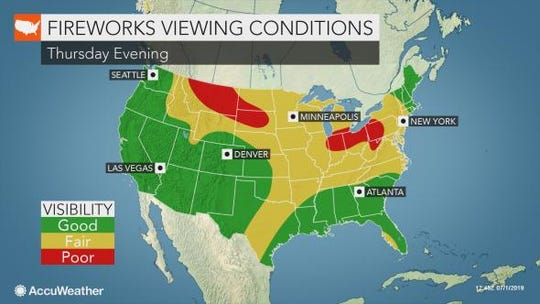There's a chance of spotty thunderstorms Thursday during the Fourth of July holiday.