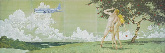 Officials at the Delaware Air National Guard considered covering the nude buttocks of Adam and Eve featured in a mural created by famed artist Jamie Wyeth during the Vietnam War. The mural has been at the guard's base for at least 50 years.