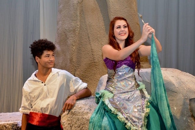 """Prince Eric (Bayley Hawkins) and Ariel (Sydney Wisdom) in """"The Little Mermaid"""" which opens  7:30 p.m. July 12 & 2:30 and 7:30 p.m. July 13 at the Wichita Theatre."""