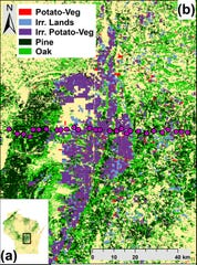 A map of the Central Sands region of Wisconsin where researchers studied the effects of irrigation on the local climate. A sensor was placed at each pink dot to mark a line across the region as it changed from pine plantations to farms to forests.