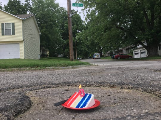 Frank Sereno posted photos of a three-month-old pothole near his house in Kansas City on June 27, 2019. The city fixed the hole two days after the celebration.