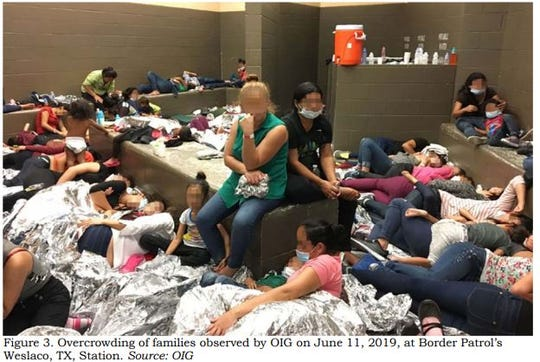 This image released in a report on July 2, 2019, by the Department of Homeland Security's Inspector General Office shows migrant families overcrowding a Border Patrol facility on June 11, 2019 in Weslaco, Texas.