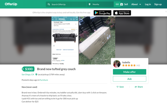 This couch is being resold on OfferUp after a toddler accidentally ordered it off Amazon using 1-click shopping. Oops!