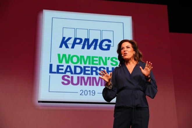 Michele Tafoya, sideline reporter for NBC Sunday Night Football, addresses the crowd at this year's KPMG Women's Leadership Summit.