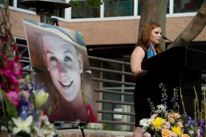 Ashley Fine speaks during a vigil for Mackenzie Lueck at the University of Utah in Salt Lake City.