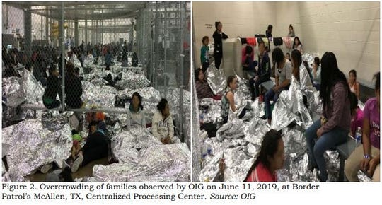 This image released in a report on July 2, 2019, by the US Department of Homeland Security (DHS) Inspector General Office (OIG) shows migrant families overcrowding a Border Patrol facility on June 11, 2019, in McAllen, Texas.