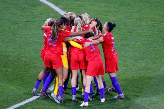 U.S. players celebrate after the Women's World Cup semifinal.