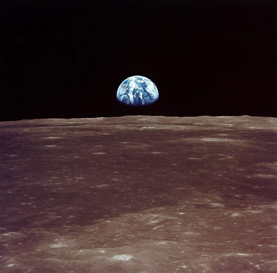 Earthrise is viewed from the Apollo 11 mission's lunar landing module 'Eagle' prior to its landing on July 20, 1969.