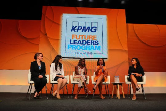 Condoleezza Rice, 66th U.S. Secretary of State, is joined by this year's KPMG Future Leaders Program ambassadors.