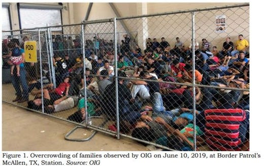 This image released in a report on July 2, 2019, by the US Department of Homeland Security's Inspector General Office shows migrant families overcrowding a Border Patrol facility on June 10, 2019 in McAllen, Texas.