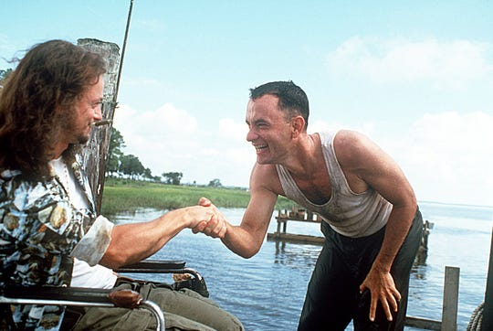 "The ""Forrest Gump"" scenes between Forrest (Tom Hanks, right) and Lieutenant Dan (Gary Sinise) are among his favorites."
