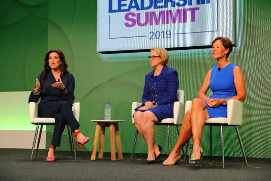 Suzy Whaley, President, PGA of America, joins Cathy Bessant, Chief Operations and Technology Officer for Bank of America, and moderator Michele Tafoya of NBC Sunday Night Football.