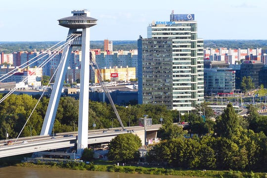 The SNP Bridge's observation deck and UFO restaurant provide stunning views of Bratislava, Slovakia.