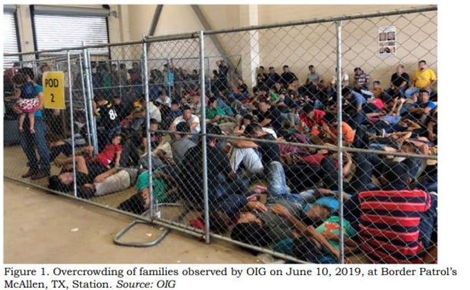 This image released in a report on July 2, 2019, by the US Department of Homeland Security (DHS) Inspector General Office (OIG) shows migrant families overcrowding a Border Patrol facility on June 10, 2019, in McAllen, Texas.