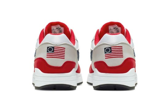 Nike says it won't be releasing its Air Max 1 Quick Strike Fourth of July shoes that feature a U.S. flag with 13 white stars in a circle, known as the Betsy Ross flag.