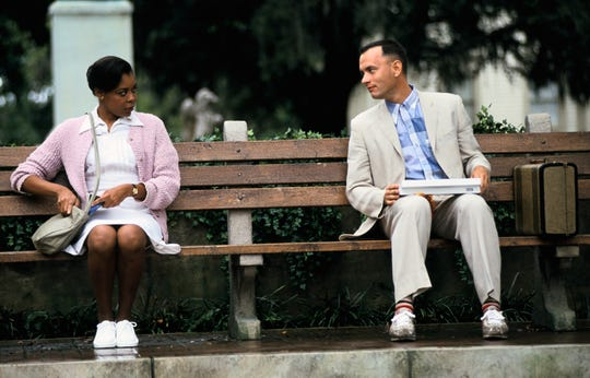 "Forrest (Tom Hanks) imparts his life story to a nurse (Rebecca Williams) in ""Forrest Gump."""