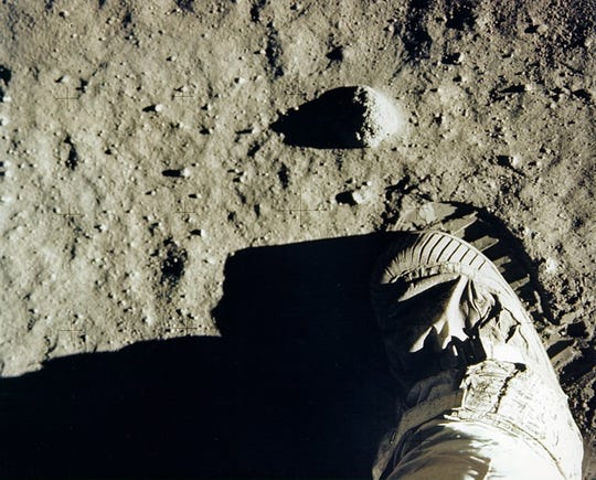 "A photo made available by NASA shows Apollo 11 astronaut Edwin ""Buzz"" Aldrin's boot and footprint in lunar soil on July 20, 1969."