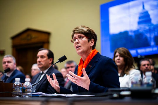 """Shellie Pfohl, then-president and CEO of the U.S. Center for SafeSport, testifies during a House Committee on Energy and Commerce Subcommittee on Oversight and Investigations hearing on ìExamining the Olympic Communityís Ability to Protect Athletes from Sexual Abuse"""" in Washington on May 23, 2018."""