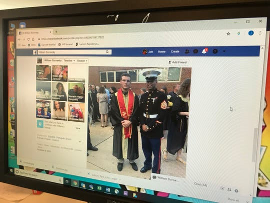 William Borowsky Sr. posted the image on Facebook of his son, William Borowsky, Jr. in the U.S. Marine sash he was barred from wearing at the Point Pleasant Borough High School graduation.