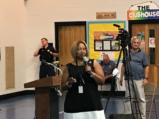 Asbury Park Superintendent Sancha K. Gray explains school consolidation plan at the June 27 school board meeting.