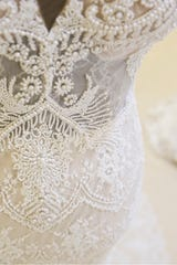 A hand beaded wedding gown by Shlomit Azrad. Castle Couture offers thousands of options for brides looking for a wedding gown. The 12-year-old full-service provider also offers prom, pageant, and evening gowns.    