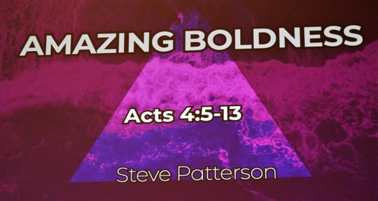 "The Rev. Steve Patterson's first sermon at St. Paul UMC in Abilene was titled ""Amazing Boldness."" Patterson was in the pulpit for the first time here Sunday."