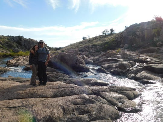 "Ronald ""Ron"" Sanchez, Jr., and his girlfriend, Brenda Kelley, are seen here hiking in the Wichita Mountains National Wildlife Refuge in Oklahoma in October 2018. The couple met in 2017 in a hiking club."