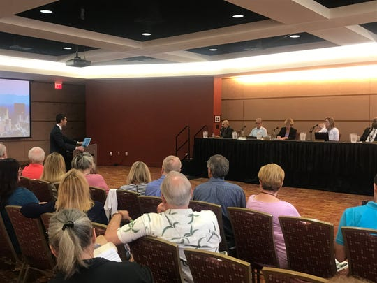 Asheville City Attorney Brad Branham talks to the City Council at a July 2, 2019 special meeting at the U.S. Cellular Center about options for contesting a state law forcing a change in local elections.