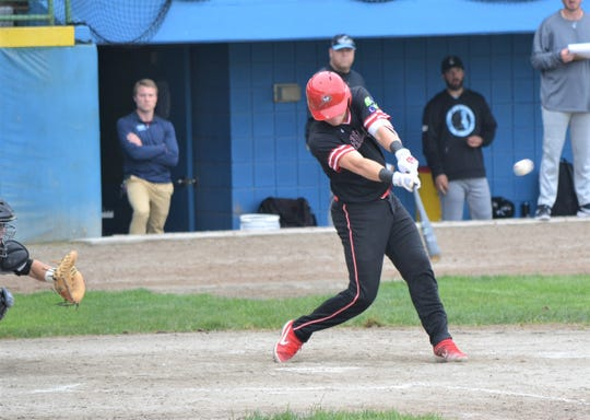Battle Creek's Rhett McCall takes a swing in action earlier this season. The Bombers started the second half of the season on Wednesday.