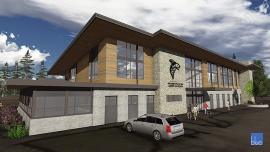 A rendering of the planned Port Gamble S'Klallam Tribe integrated health facility, designed by Blue Architecture.