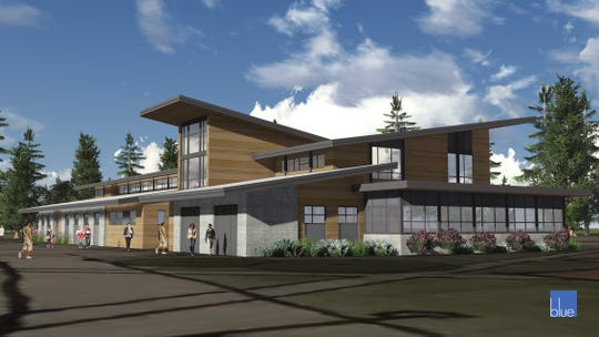 An exterior rendering of the planned Port Gamble S'Klallam Tribe integrated health facility, designed by Blue Architecture.