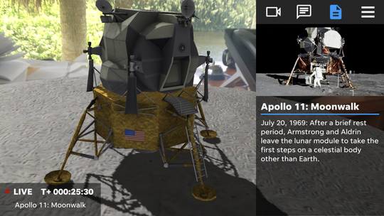 321 LAUNCH app featuring the Apollo 11 mission.