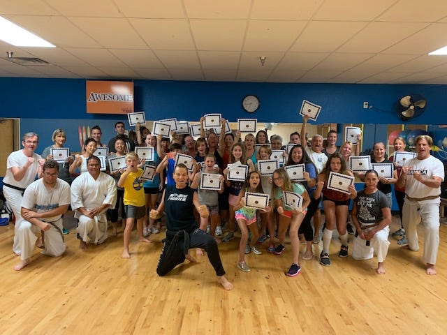More than 40 participants of all ages attended a free assault prevention seminar conducted by Cocoa Beach Karate's head sensei, Des Chaskelson, and his students, last weekend at Cocoa Beach Health & Fitness.