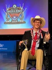 John Henry Stearns won the National Speech and Debate Association's Big Question Debate championship.