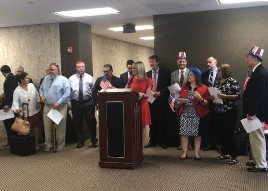 Defense attorneys in Corpus Christi read the Declaration of Independence on July 3, 2019.